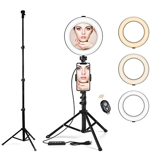 """8.2"""" Ring Light with Tripod Stand & Cell Phone Holder for Live Streaming/Makeup, Dimmable Selfie Ring Light LED Camera Ringlight with Mirror and 56"""" Extendable Tripod, Compatible with iPhone Android"""