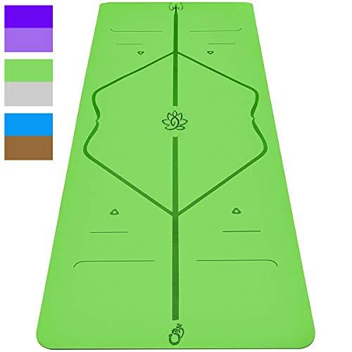Sosila Yogamatte, Gymnastikmatte, 6mm TPE ECO Matte, rutschfest, umweltfreundlich, hypoallergen, hautfreundlich, für Yoga Pilates Gymnastik Fitness, mit Tasche Trageband, 183 x 61 x 0,6 cm (Grün-Grau)