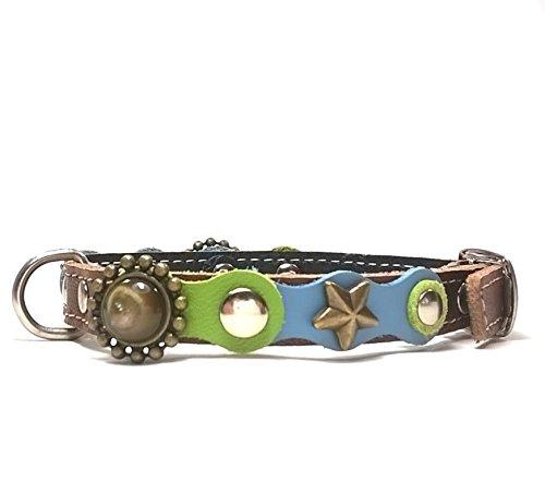 Hunde-Halsband, Handmade Braun Leder für Welpen, Chihuahuas und Kleine Hunde, Edel mit schönen Hellblau Grün Pastell Farbige und Elegante Steine, 25 cm XXXS: Halsumfang 15-20 cm, Breit 13mm