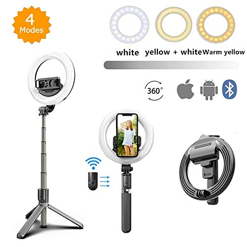 Tragbar LED Ringleuchte, 5'' Selfie Stick Ringlicht mit Stativ Bluetooth Fernbedienung 3 Dimmbare Lichtmodi Ring Licht für Reise YouTube Instagram TikTok Live Streaming Makeup Video