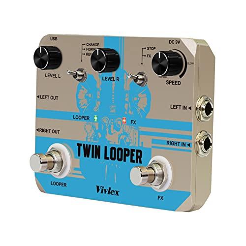 Vivlex mellizo Looper Loop Station Pedal de bucle doble para guitarra, bajo y ritmic, grabación de grabación
