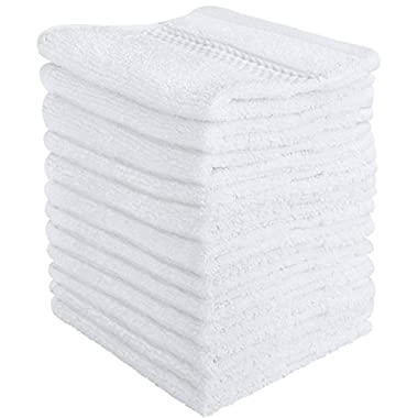 Utopia Towels Luxury Cotton Washcloth Towel Set (12 Pack, White, 12 x 12 Inches) Multi-Purpose Extra Soft Fingertip Towels - Highly Absorbent Face Cloths - Machine Washable Sport and Workout Towels