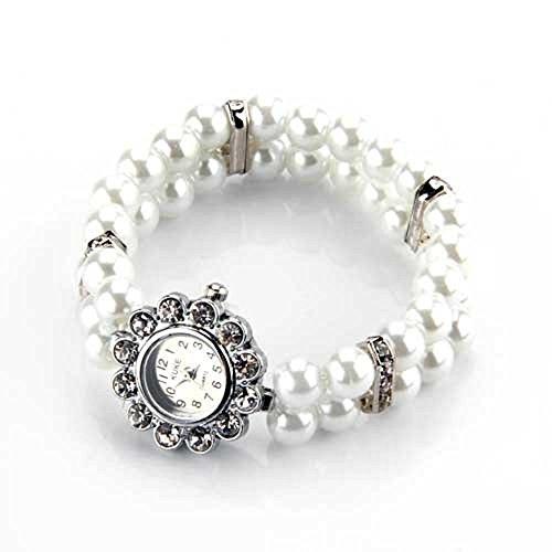 Skyllc® Metall Zuchtperle Strass Armkette Armbanduhr Damenuhr Uhr Blume Armband TREND