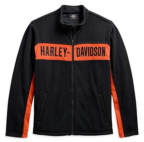 HARLEY-DAVIDSON Herren Fleecejacke Warmer Winter Sweater aus Fleece - Biker Jacke mit Reißverschluss und Handwärmetasche, XL