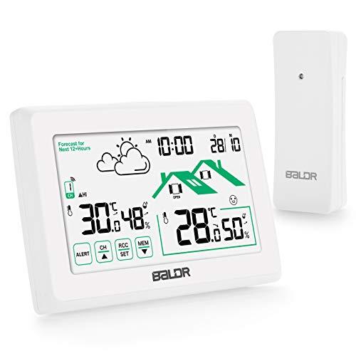 Qomolo Wetterstation Funk mit Außensensor Wireless Hygrometer Thermometer mit LCD-Bildschirm, Wettervorhersage Wetterstationen für Innen und Außen mit Datum Uhrzeit/Frühwarnung Funktion, weiß