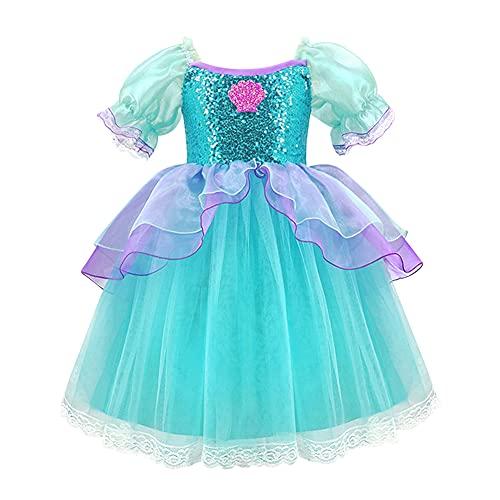 IWEMEK Bambine Ragazze Costume da Sirenetta Ariel Abito da Principessa Ariel con Accessori Cosplay di Fiabe Costume di Halloween Carnevale Vestito da Festa Travestimento Verde + Viola 4-5 Anni