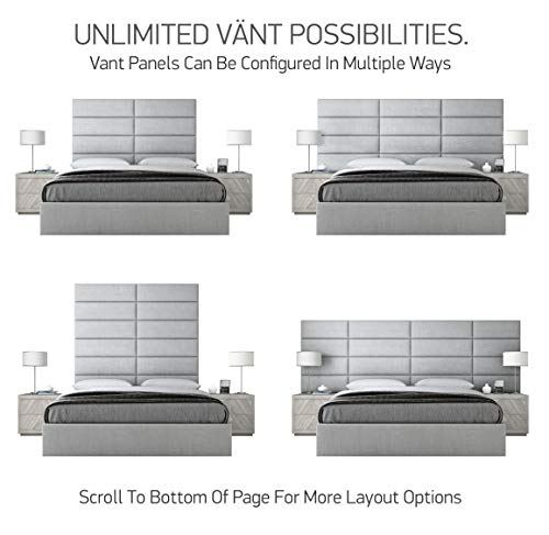 """Vänt Upholstered Wall Panels - King/Cal King Size Wall Mounted Headboards - Micro Suede Gray - Pack of 4 Panels (Each Individual Panel 39""""x11.5"""")"""