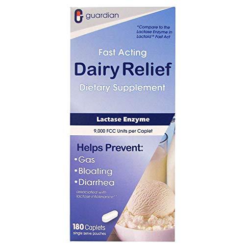 Guardian Dairy Relief Fast Acting Lactase, 180 Caplets, 9000 FCC Maximum Strength, Lactose Intolerance Pills, Lactase Enzyme (180 CT)
