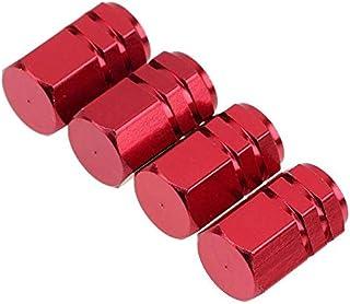 4 Pcs Aluminum Tire Wheel Rims Stem Air Valve Caps Tyre Cover Car Red