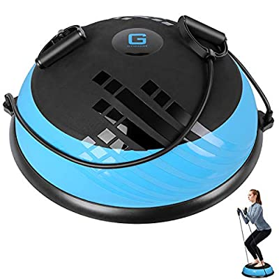 GYMMAGE Balance Ball Trainer Exercise Ball - Half Yoga Ball Balance Trainer with Resistance Bands & Foot Pump for Yoga Fitness Home Gym Workout