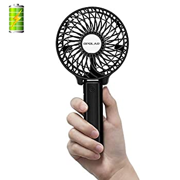 OPOLAR Handheld Portable Battery Operated Rechargeable USB Fan,Mini Personal Fan with 2200mAh Battery and 3 Settings for Travel Home and Office Use  Strong Wind Adjustable Angle - Black
