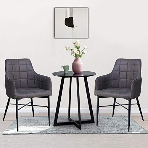 SHINAWOOD 2er Set Esszimmerstühle Grau Kunstleder Küchenstuhl mit Armlehne Retro Polsterstuhl Metallbeine Sessel für Wohnzimmer Salon Büro Gaststätte