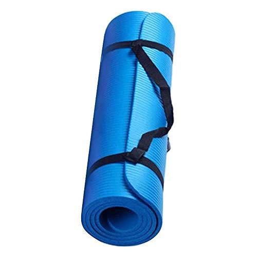 NINGSANJIN Yogamatte rutschfest Schadstofffrei 15 mm Dicke Haltbare mit Tragegurt Sport Fitness Yoga Pilate Matte Knee Pad Gymnastikmatte Fitnessmatte Workout 60x25cm (Blau)