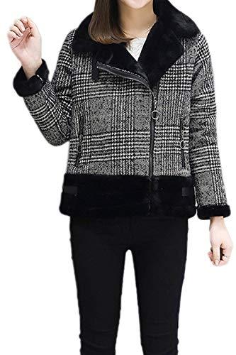 Crystallly dames wintermantel jas lange mouwen warme revers geruit comfortabele maten kort vintage vrije tijd dikke overgangsjas