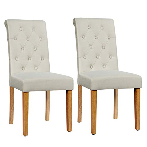 Giantex Upholstered Dining Chairs Set of 2, with Adjustable Foot Pads, Anti-Slip Foot Pads, Sturdy Wood Legs, Tufted Parsons Chair for Kitchen Dining Room (2, Beige)