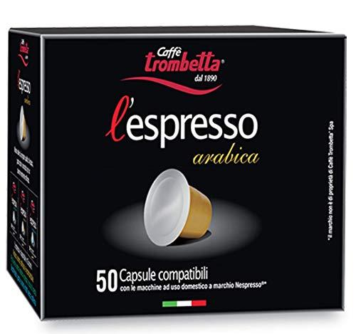 Caffè Trombetta L'Espresso, Capsule Compatibili Nespresso, Arabica - 50 Capsule