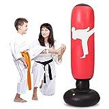 LEOHOME - Saco de boxeo hinchable para niños, 5.2ft Fitness sacos de boxeo independientes pesados bolsa de entrenamiento, rojo