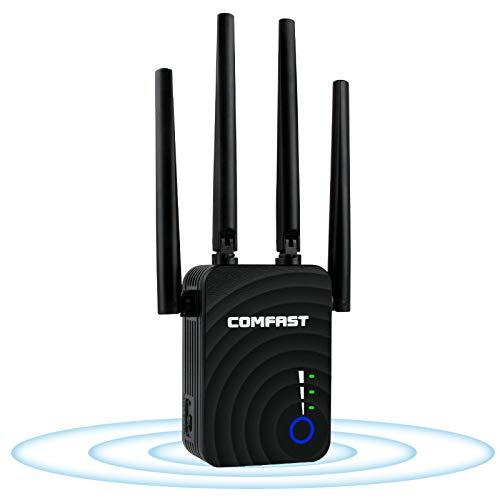 Laxikoo Ripetitore WiFi Wireless, Ripetitore di Segnale Wireless 1200Mbps, 2.4Ghz e 5.8Ghz Router Ripetitore Wireless con 4 omnidirezionale a Doppia frequenza ad Alto Guadagno antenne 2 Porte Ethernet