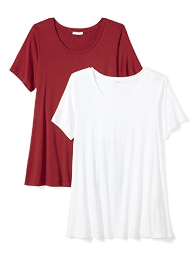 Daily Ritual Women's Plus Size Jersey Short-Sleeve Scoop Neck Swing T-Shirt, 2-Pack, 7X, White/Deep Red