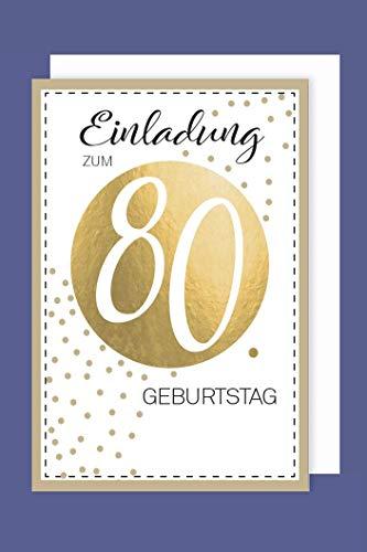 AvanCarte Einladungskarte 80 Geburtstag 5er Set Golddruck Punkte 5 Karten 15x11cm
