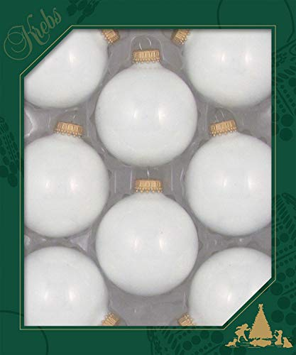 Made in The USA Designer Seamless Porcelain White 2 5/8' (67mm) Christmas Ball Ornaments, 8 Pieces