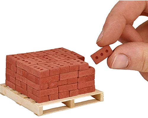 Acacia Grove Mini Red Bricks with Pallet, 90 Pack, 1/12 Scale