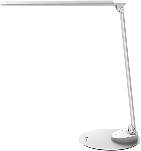 TaoTronics LED Desk Lamp With USB Charging Port Eye Care Dimmable Lamp 5 Color Temperatures With 5 Brightness Levels Touch Control Metal Official Member Of Philips EnabLED Licensing Program
