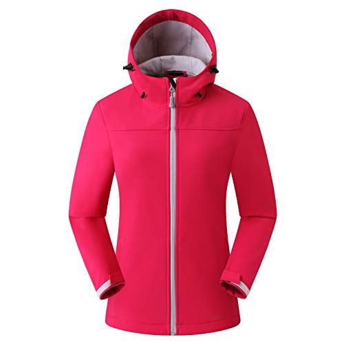 Amazon Marke: Eono Essentials Damen-Softshell-Jacke mit Kapuze, Übergangsjacke - Medium, Stahlendes Rot