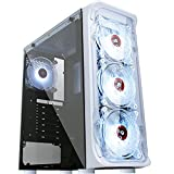 KEDIERS Computer Case ATX Mid Tower PC Gaming Case Open Tower Case - USB3.0 - Remote Control - 2 Tempered Glass - Cooling System - Airflow - Cable Management (E440-white)
