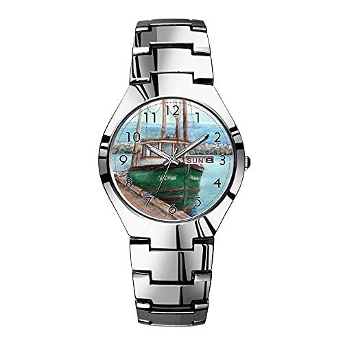 Mens relojes de acero plateado banda superior marca impermeable Japón cuarzo reloj de Navidad hombres negocios reloj acuarela pesca barco escena relojes