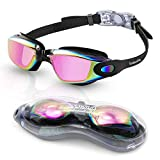 Uniswim Swim Goggles,Swimming Goggles No Leaking Anti Fog UV Protection Clear Wide View Triathlon Swim Goggles for Adult Men Women Youth Teens-Bright pink