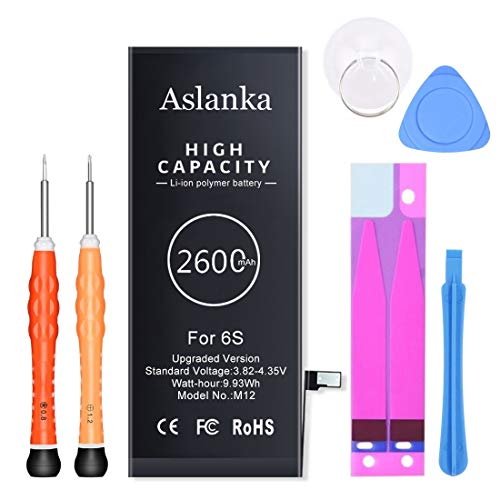 Aslanka Battery for iPhone 6s, (Enhanced) 2600mAh Super High Capacity Battery Replacement New 0 Cycle, with Complete Tools and Manuals-24 Months Warrant