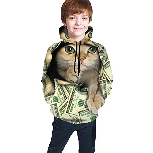 Hangdachang Pullover für Kinder, Teenager, 3D-Druck, Hoodies Mantel, lockere Freizeit-Sweatshirts, süße Katze mit amerikanischem Dollar Zeichen Gr. M, mehrfarbig