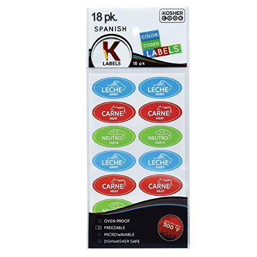 18 étiquettes casher espagnoles variées - 6 produits laitiers bleus, 6 viandes rouges, 6 autocollants verts Parve - résistants au four jusqu'à 500 °, congelables, micro-ondables par The Kosher Cook