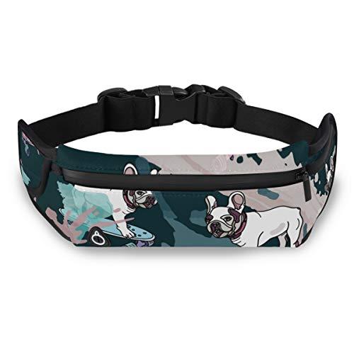 N/ A Adjustable Running Belt Waist Pack - French Bulldog Fitness Phone Running Belt for Phone Men Workout Fanny Pack Waterproof Pocket Belt