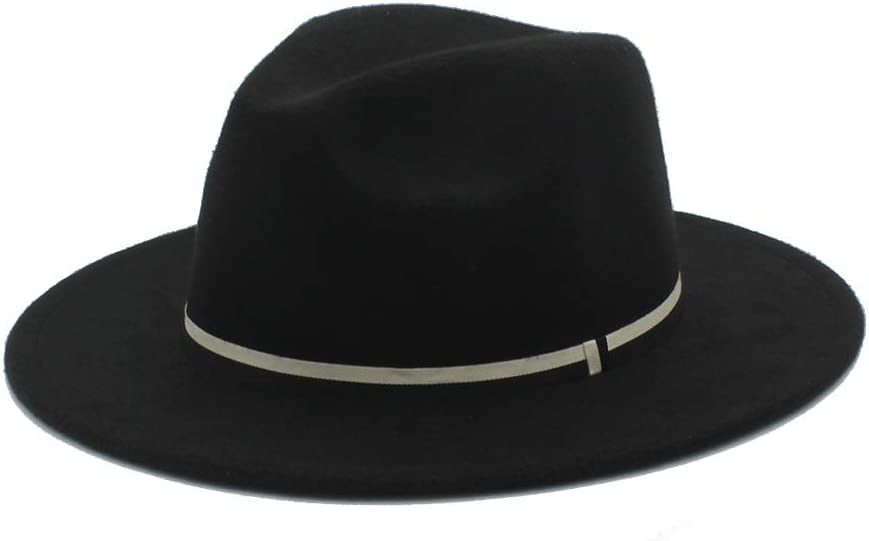 LIRRUI Men Women Winter Fedora Hat Panama Church Fascinator Jazz Hat Casual Wild Hat Size 56-58CM Fashion (Color : Black, Size : 56-58)