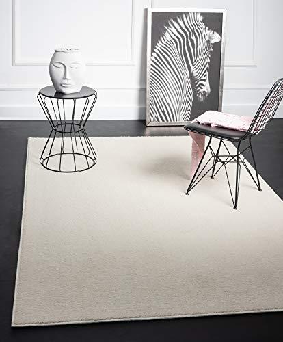 Mia´s Teppiche Emma - Alfombra de salón, Pelo Corto, 17 mm, Color Crema, 80 x 150 cm, Polipropileno, 17 cm