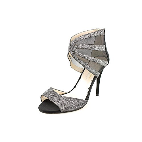 Caparros Dalton Womens Size 9 Black Peep Toe Textile Dress Sandals Shoes