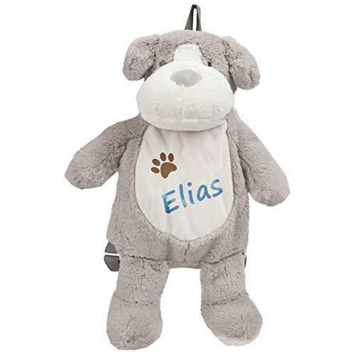 Kinderrucksack Hund mit Namen personalisiert - Kuscheltier und Plüsch Rucksack für Kinder ab 1 Jahr - zb als Mini Wanderrucksack, Kitatasche oder Beutel für Spielzeug - Kindergartenrucksack Jungen
