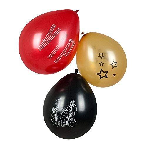 Boland 44151 - Latexballons VIP, 6 Stück, Größe ca. 23 cm, 3 Motive sortiert, Schriftzug, Sterne, Paparazzi, Hollywood, Luftballons, Geburtstag, Gartenparty, Mottoparty, Hängedekoration, Karneval