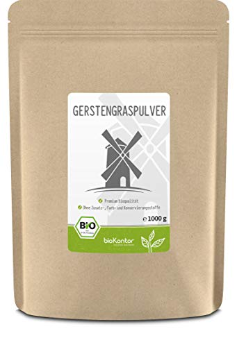 Gerstengraspulver BIO 1000g (1 kg)   gemahlenes Gerstengras aus kontrolliert biologischem Anbau   laborgeprüft   100% naturrein ohne Zusätze   abgefüllt in Deutschland   bioKontor
