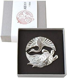 錫製 お好みで変形 箸置き 向かい文様 「長寿鶴亀ペア(鶴・亀 各1個入)」 化粧箱付