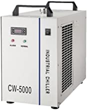 CW-5000DG Industrial Water Chiller for Single 80W/100W CO2 Laser Tube Cooling, 0.41HP, AC 1P 110V, 60Hz 800W cooling capacity, 30W DC pump, 1 outlet and 1 inlet. Emitting rate higher than 60%. The water temperature is able to be adjusted. For USA 110V user