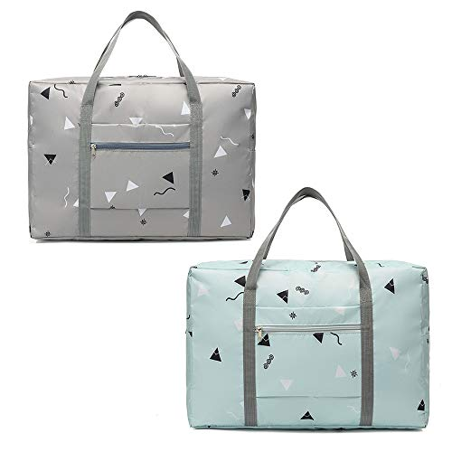 2 Pack Foldable Travel Duffel Bag with Fixed on The Trolley Case,...