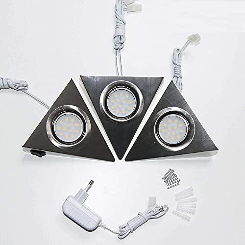 3er SET LED Unterbauleuchten mit Schalter für Küche Schrank 4000K (neutralweiß) - Dreieck-Design aus Edelstahl - Küchenleuchte Küchenlampe Schrankleuchte Dreieckleuchte