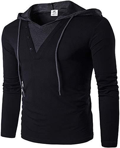 QPNGRP Men's Long Sleeve Pullover Hoodie Slim Fit Casual Hooded T-Shirt B24 Black Large