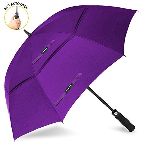 ZOMAKE Golf Regenschirm, Premium Qualität, 157cm Groß, Sturmsicher, Automatik - Automatisch zu öffnen, Regen- und Windresistent Golfschirme(Violett)