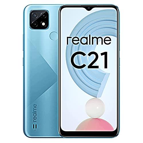 """realme C21 - Smartphone Portable Débloqué 4G (Ecran : 6,5"""" - 32 Go/3 Go RAM - Double Sim - Android 10.0) Cross Blue"""