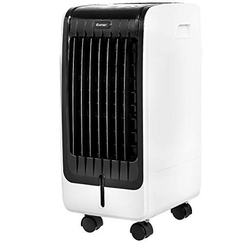 COSTWAY Evaporative Cooler, Portable Cooler with Fan & Humidifier, Bladeless Quiet Electric Air Cooler w/Remote Control for Indoor Home Office Dorms