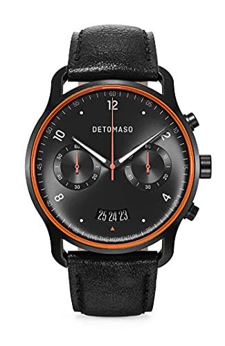 DETOMASO SORPASSO Limited Edition Velocita Schwarz Orange Herren-Armbanduhr Analog Quarz Lederarmband Schwarz
